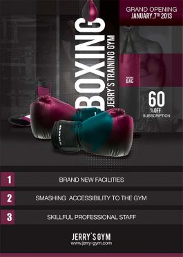 Boxing Training Gym Opening Flyer Template