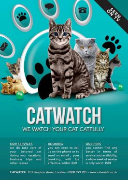 Cat Lover Watch & Care Shop Flyer Template