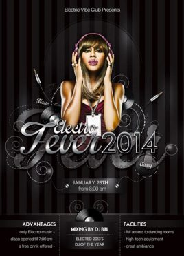 Electro Music Fever Flyer For Night Club