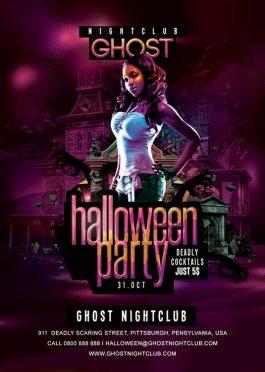Flyer Spooky Scaring Halloween Night