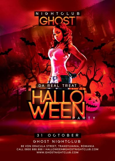 Funny Bloody Spooky Halloween Party in Club
