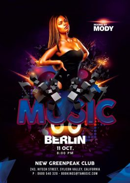 Techno Music Party Flyer Template