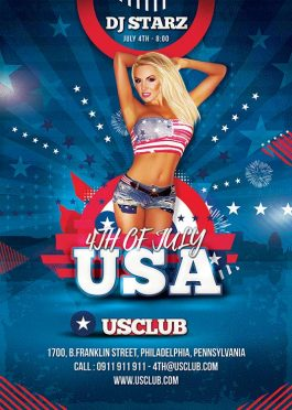 4th July Usa National Day Flyer Template