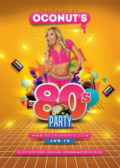 80ies Themed Retro Party Flyer Template download