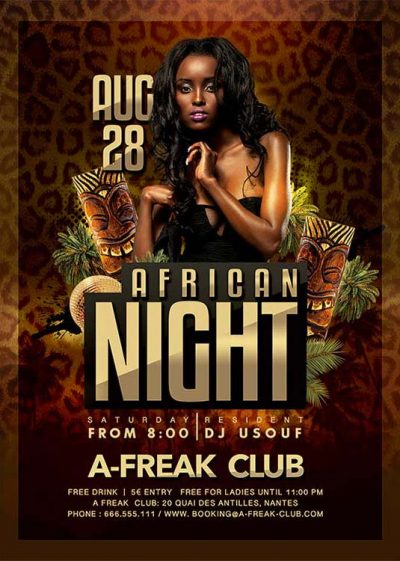 African Themed Night Flyer Template download