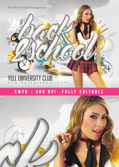 Back 2 School students Party Flyer Template download