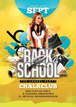Back 2 School University Party Flyer Template