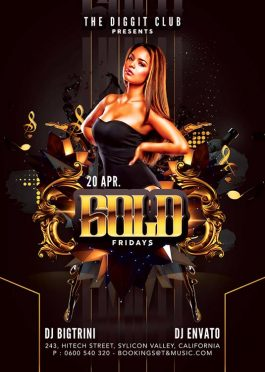 Barocco Style Gold Fridays Flyer Template download