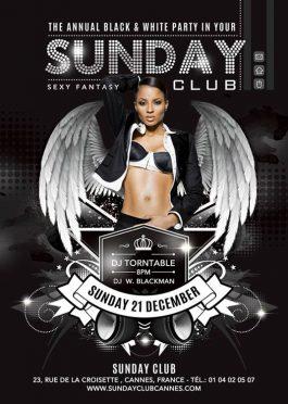 Black White DJ Party Flyer Template