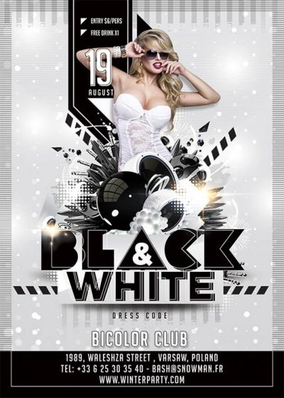 Black White Themed Evening Flyer Template download
