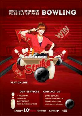 Bowling Evening Game Party Flyer Template