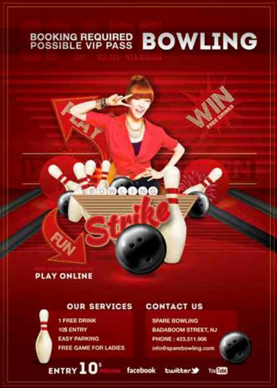 Bowling Evening Game Party Flyer Template download