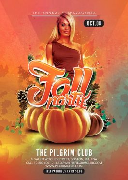 Fall Night Autumn Party Flyer Template