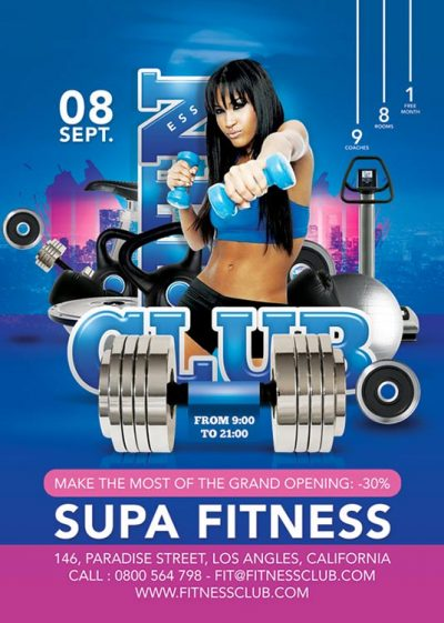 Fitness Club Advertising Flyer Template download