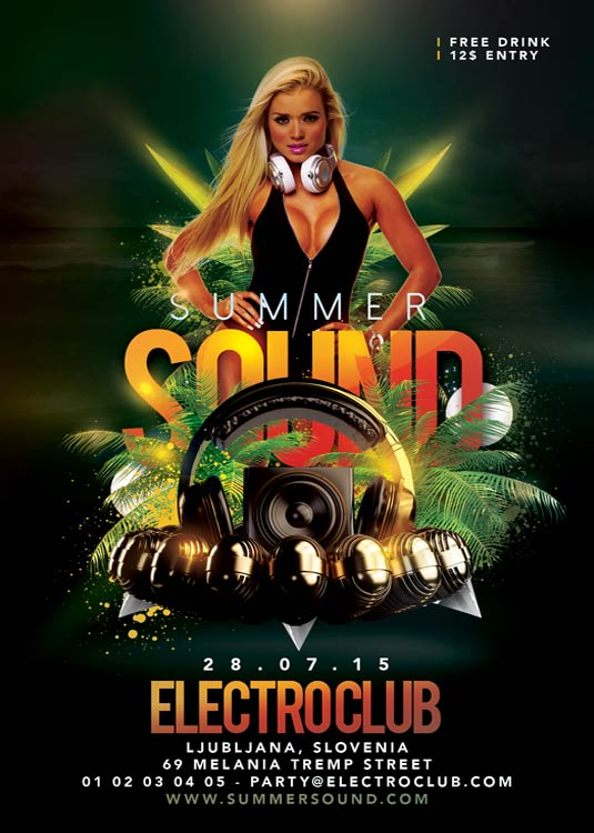 Flyer Template Summer Sound Night Party download