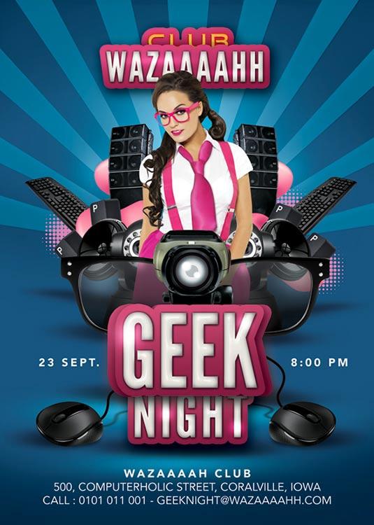 Geek Theme Night Flyer Template download
