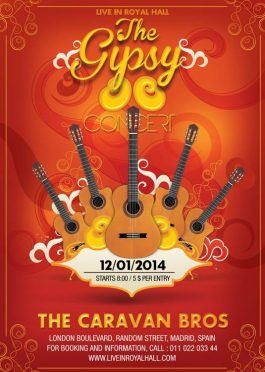 Gipsy Guitar Music Concert Flyer Template
