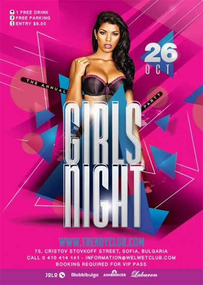 Girl Themed Night Party Flyer Template download
