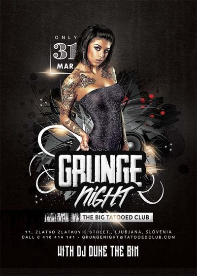 Grunge Night Club Party Flyer Template download
