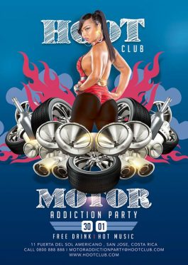 Hot Hoot Motor Addiction Party Flyer Template