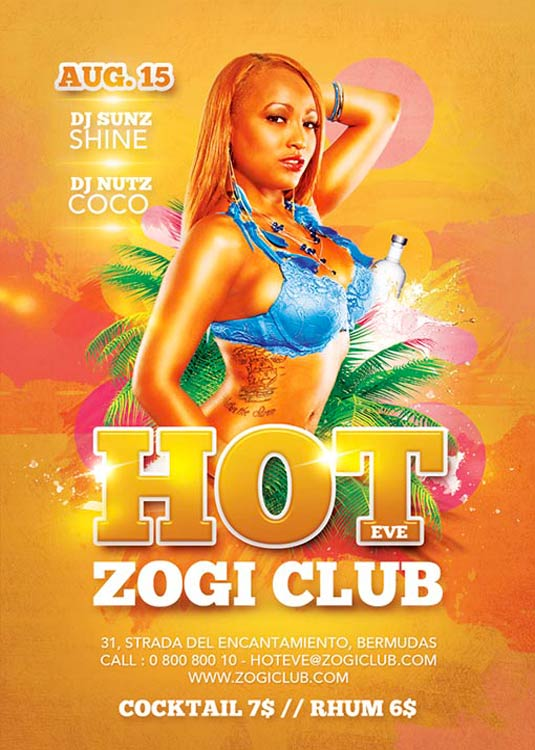 Hot Summer Party Club Flyer Template download