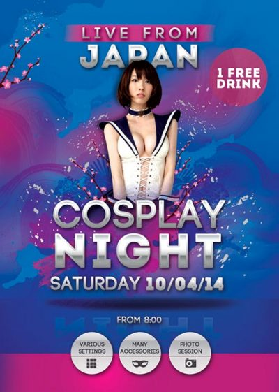 Japan Themed Cosplay Night Flyer Template download