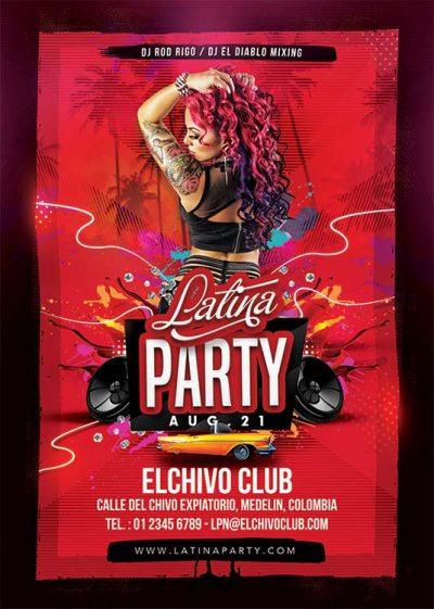 Latin Night Latina Fiesta Flyer Template download