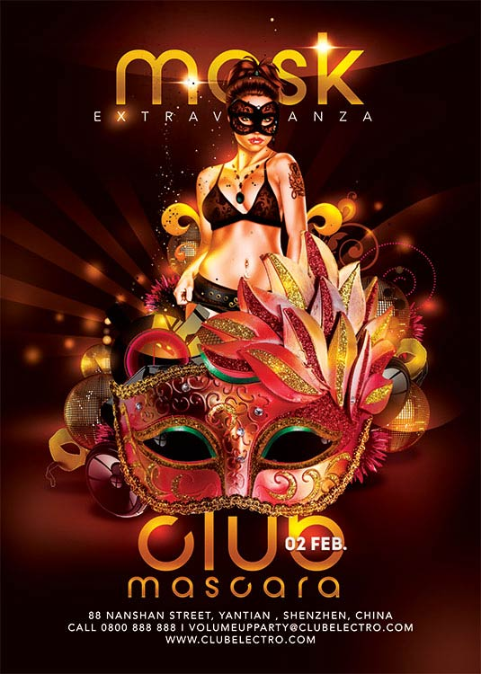 Mask Themed Carnival Flyer Template download