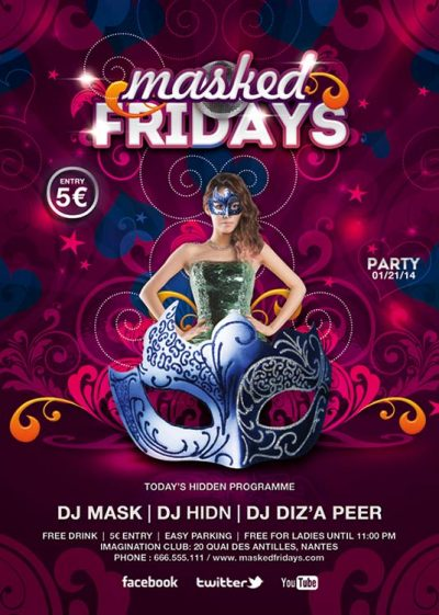 Masked Fridays Carnival Party Flyer Template download