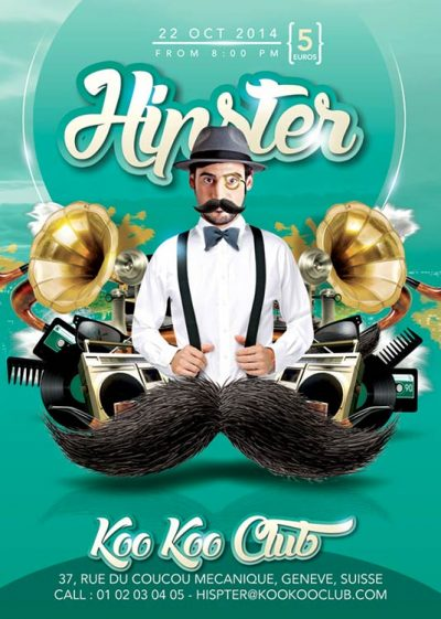 Mustache Hipster Theme Flyer Template download