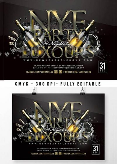 New Year Nye Night Celebration Flyer Template download