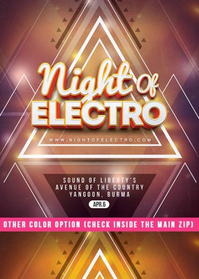Night Of Electro CD Flyer Template download