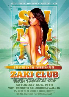 Poolside Cocktail Party Flyer Template