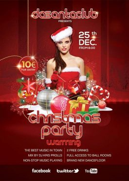 Red Christmas Warming Flyer Template download