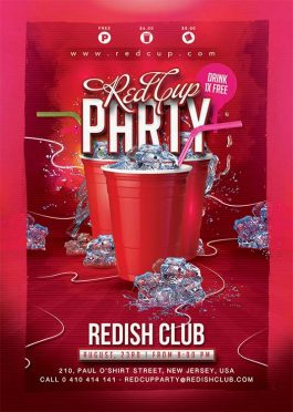 Red Cup Student Party Flyer Template