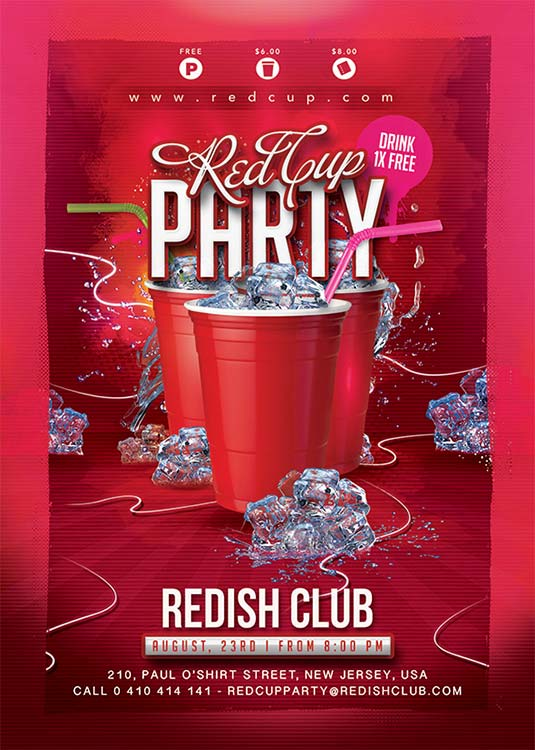 Red Cup Student Party Flyer Template download