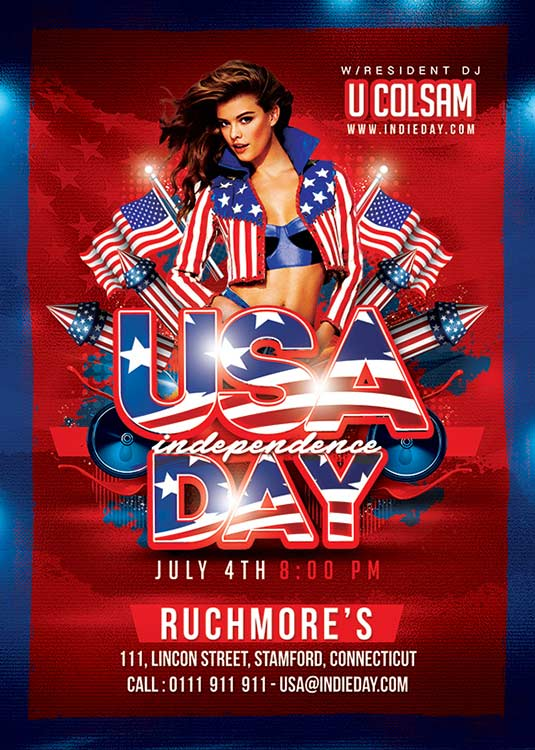 Red Usa 4th Of July Flyer Template download