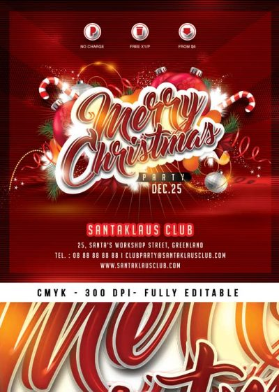 Red Warm Squared Christmas Flyer Template download