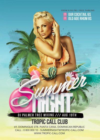 Seaside Poolside Summer Night Club Party Flyer Template download