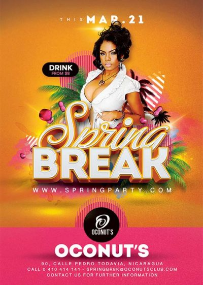 Spring Break Summer Party Flyer Template download