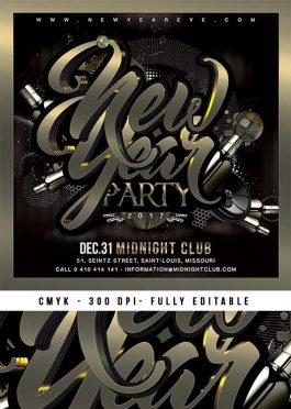 Squared New Year Nye Party Flyer Template