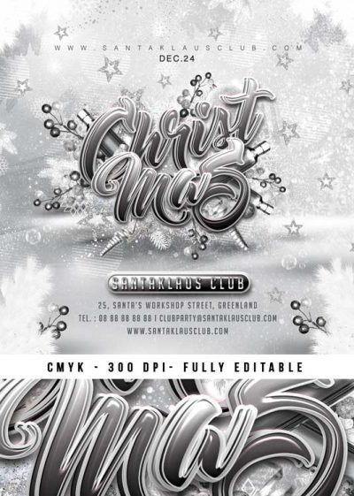Squared White Christmas Xmas Flyer Template download
