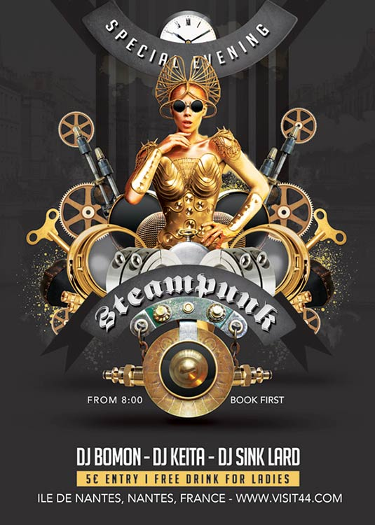 Steampunk Themed Party Flyer Template download