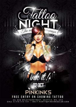 Tattoo Ink Themed Night Flyer Template