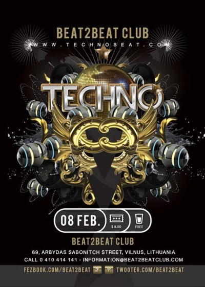 Techno Beat Party Club Flyer Template download