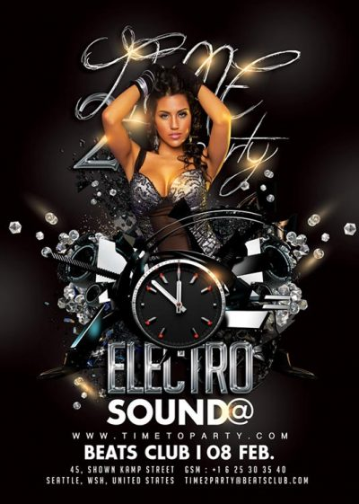 Time 2 Party Electro sound Flyer Template download
