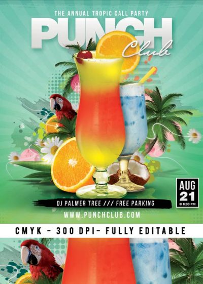 Tropical Cocktail Exotic Night Flyer Template download