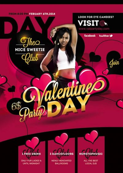 Valentine Day Night Flyer Template download