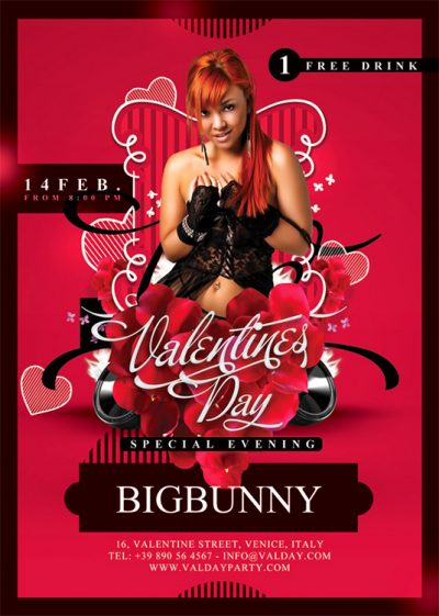 Valentine Evening Party Flyer Template download