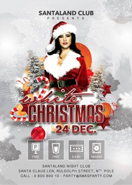 White Christmas Xmas Flyer Party Template